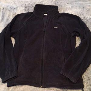 Women's Black Fleece Columbia Zip Jacket Coat